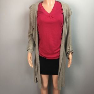 Avenue  hooded ribbed open cardigan sweater